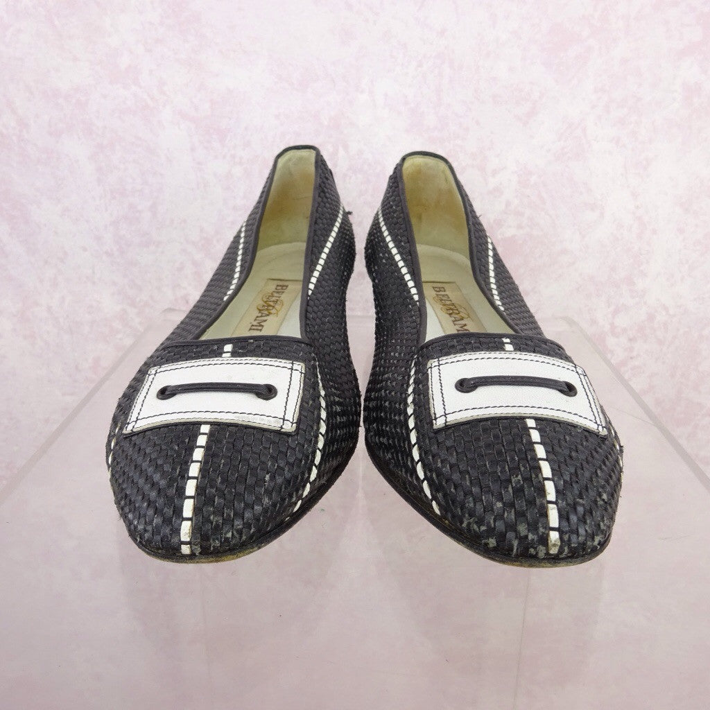 Vintage 70s Leather Basket Weave Flats w/Buckle f