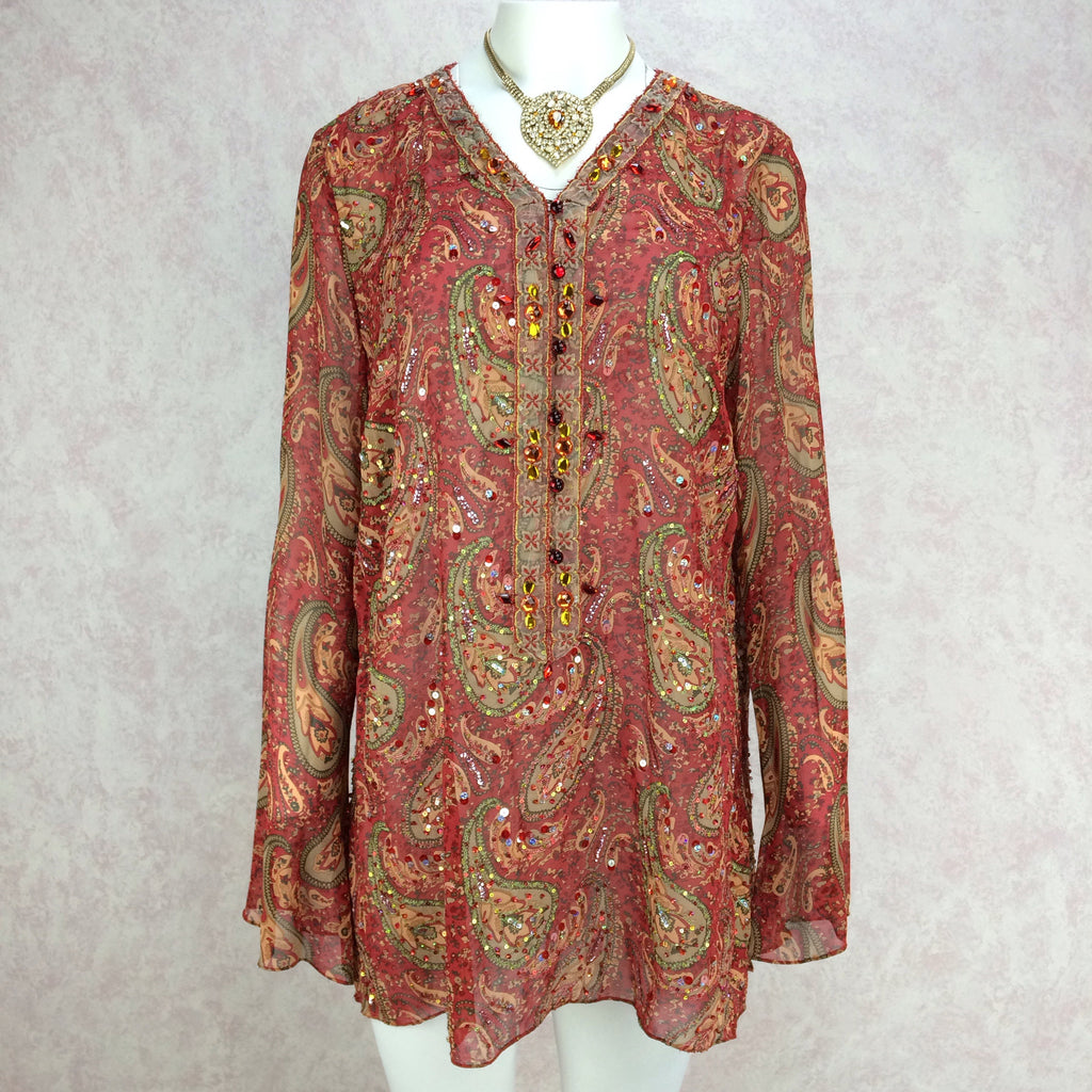 2000s Silk Paisley Tunic w/Colorful Beading Detail, Front w/Neck