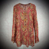 2000s Silk Paisley Tunic w/Colorful Beading Detail, NOS