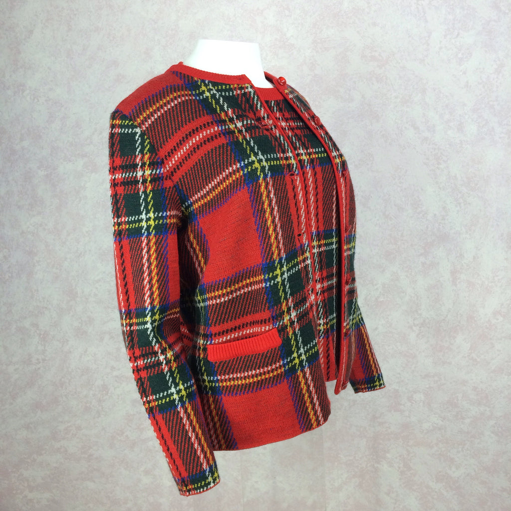 2000s BILL BLASS USA Red Plaid Twin Set, Side