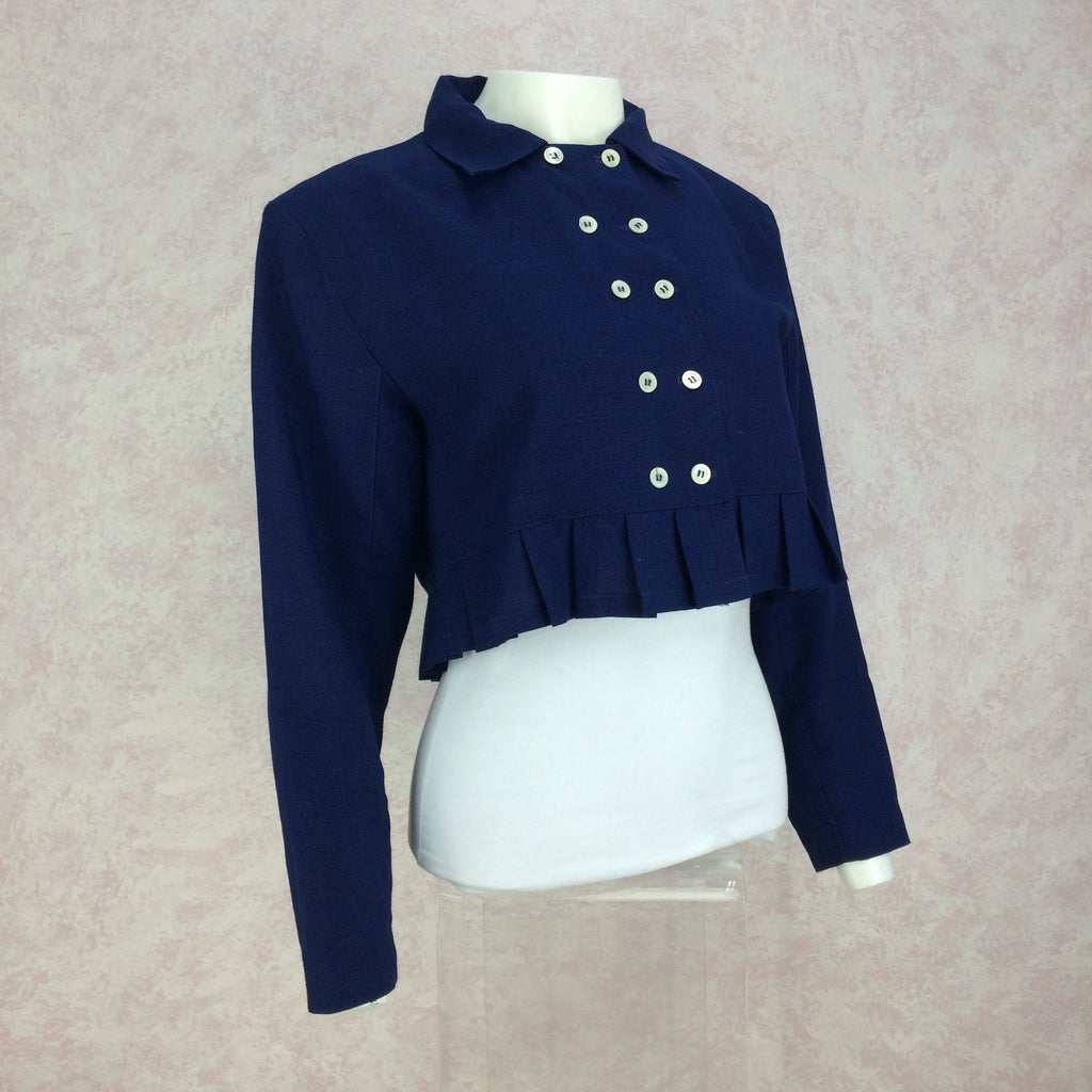 Vintage 50s Cropped Linen Double Breasted Jacket, Side
