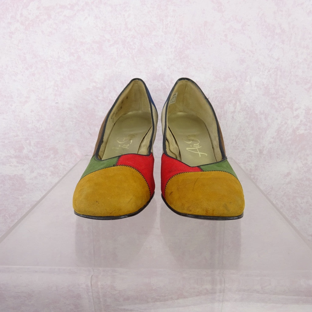 Vintage 70s Multi-Color Patchwork Suede Pumps NOS