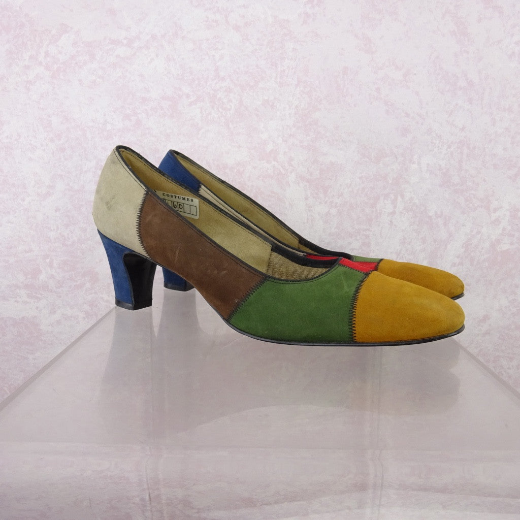 Vintage 70s Multi-Color Patchwork Suede Pumps NOS fg