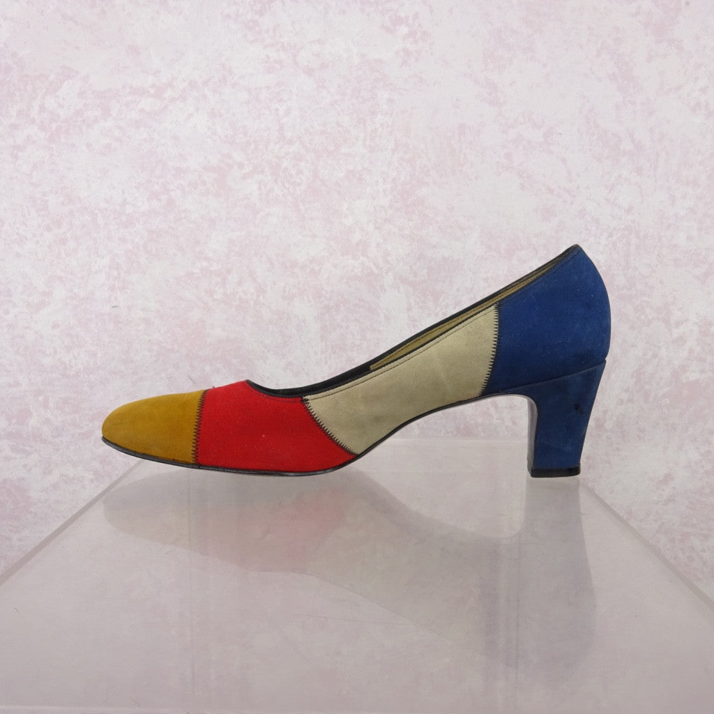 Vintage 70s Multi-Color Patchwork Suede Pumps NOS vfsd