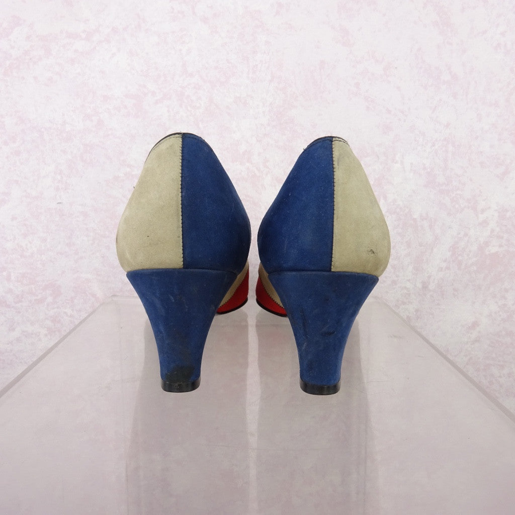 Vintage 70s Multi-Color Patchwork Suede Pumps NOS rfe