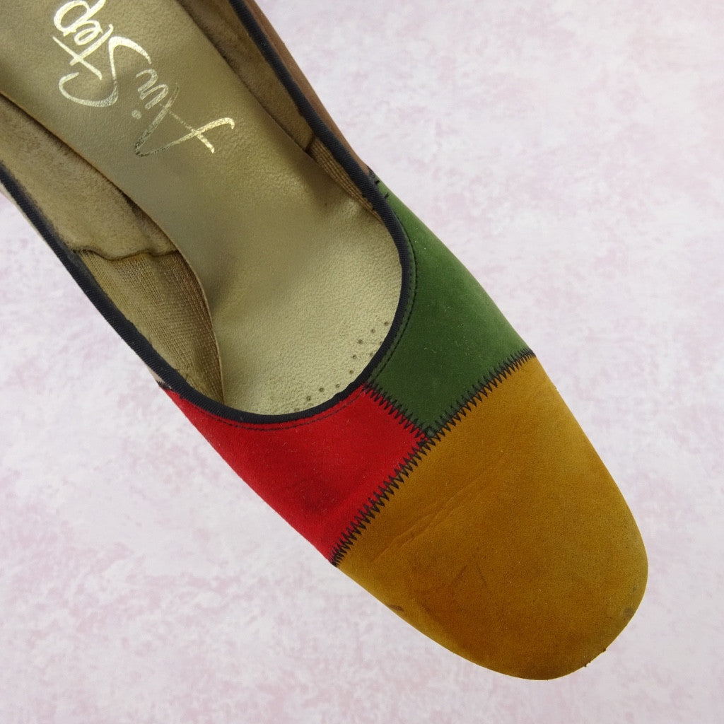 Vintage 70s Multi-Color Patchwork Suede Pumps NOS mjhgfd