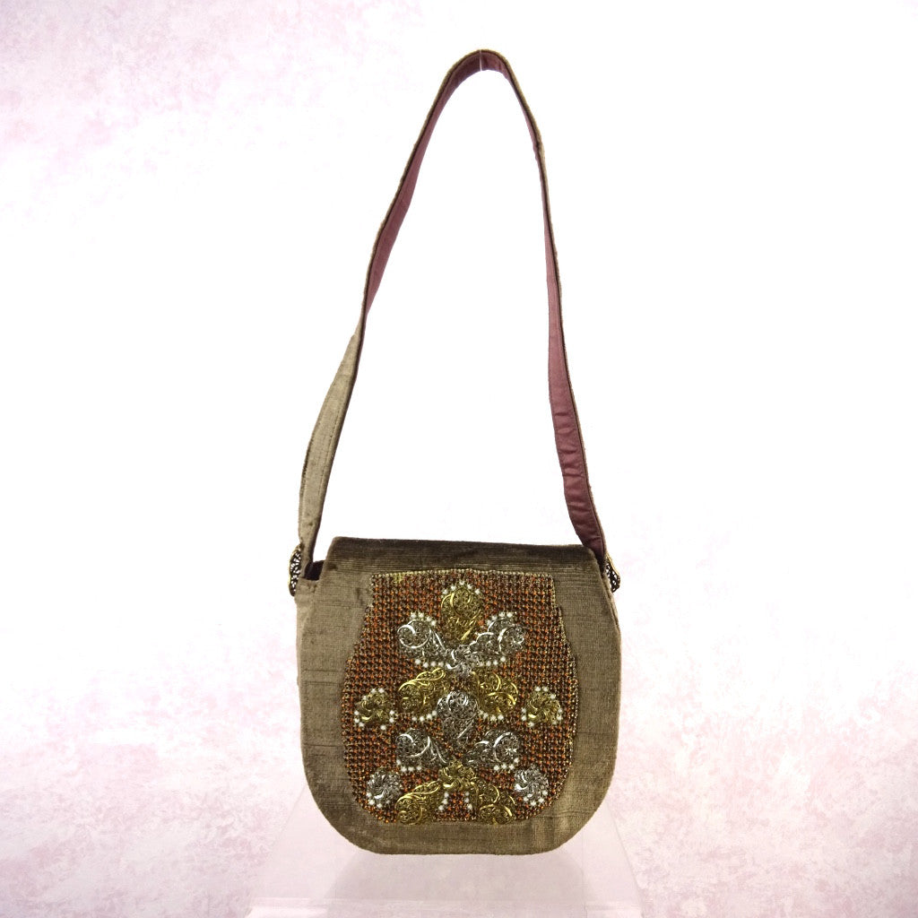 Vintage 70s Velvet Bag w/Large Rhinestone & Metal Design
