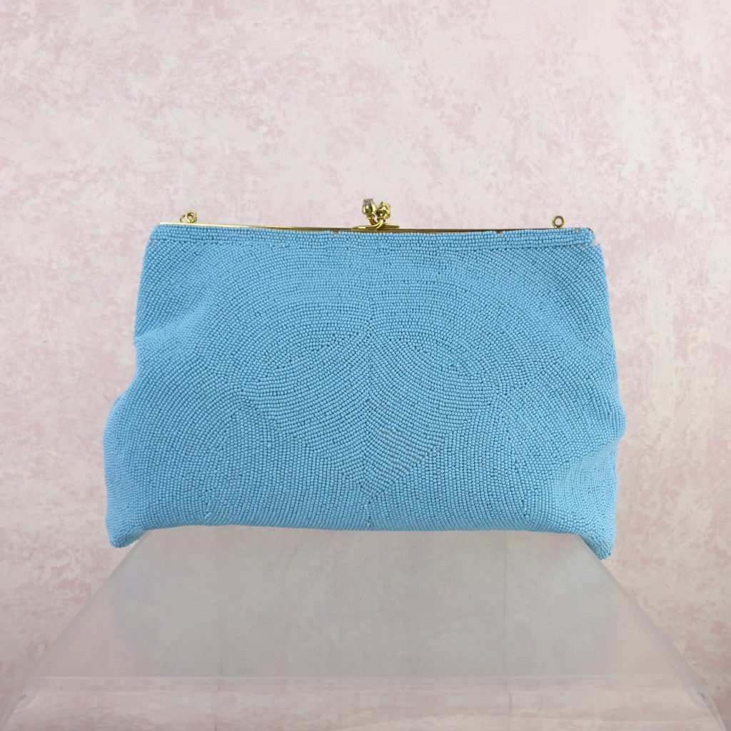 Vintage 60s Large Sky Blue Beaded Purse FIX CHAIN