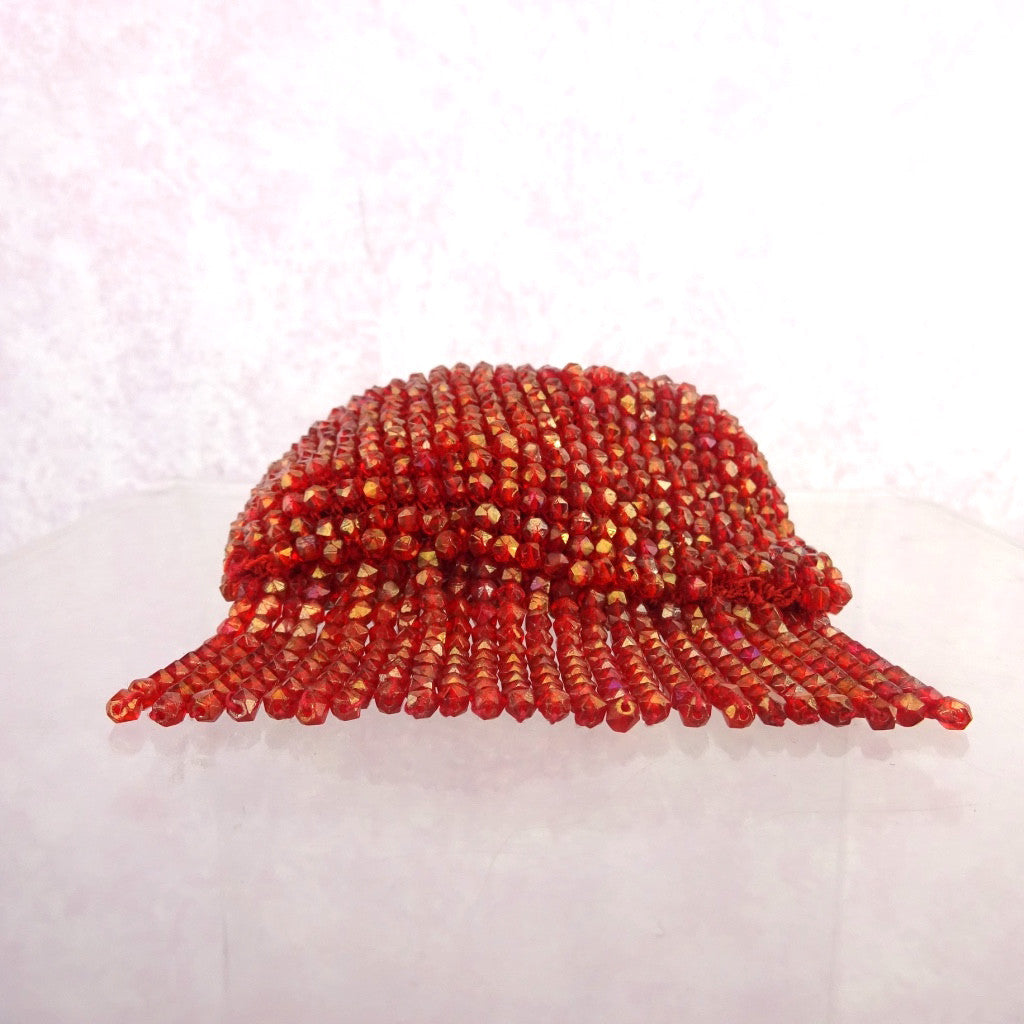 Vintage 20s Red Beaded Purse w/Fringe f