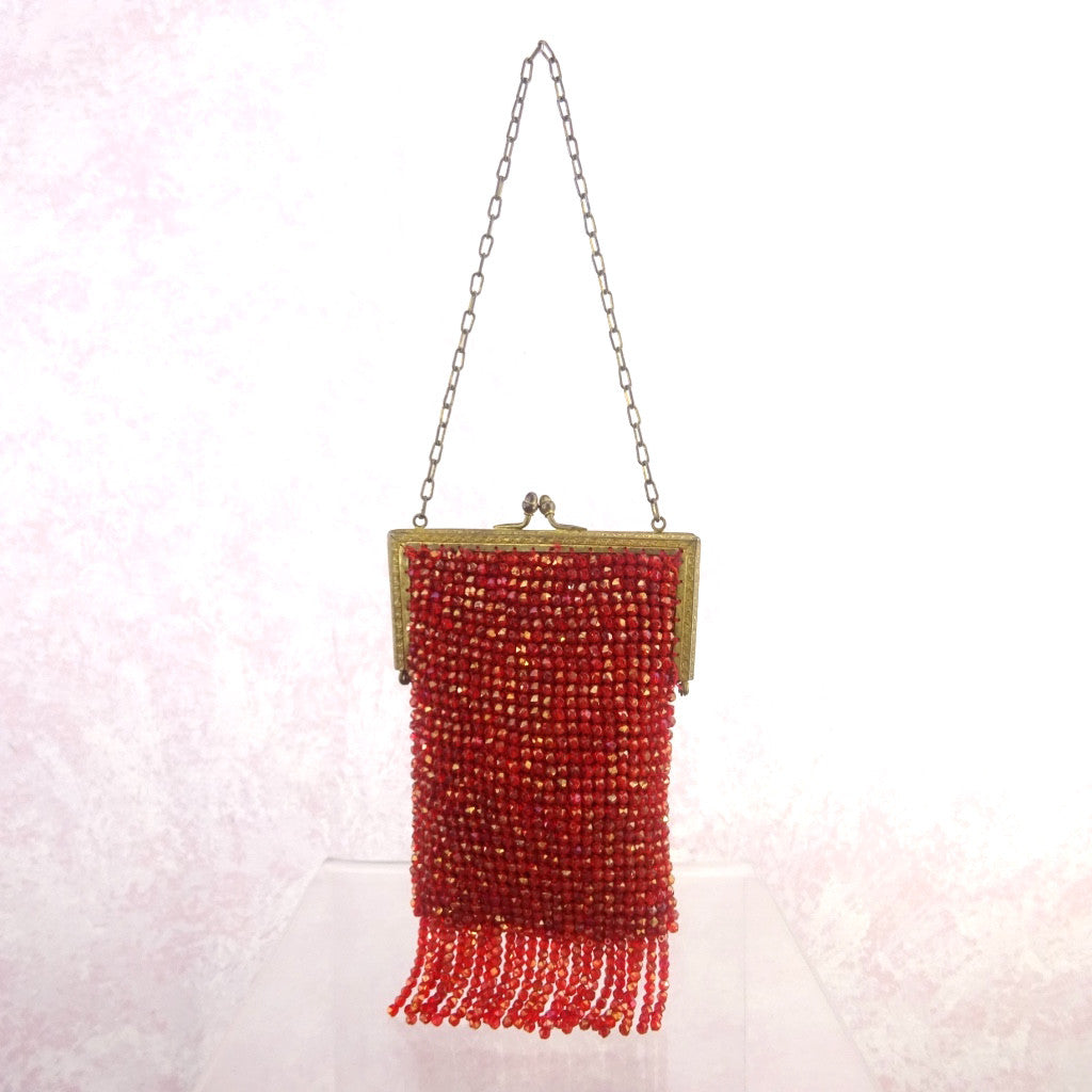 Vintage 20s Red Beaded Purse w/Fringe
