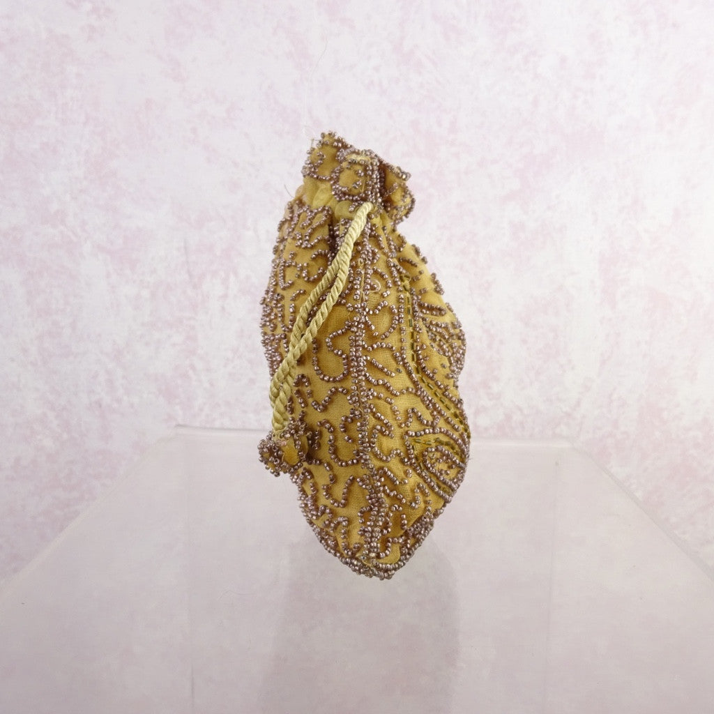 Vintage 30s Gold Beaded Pouch g