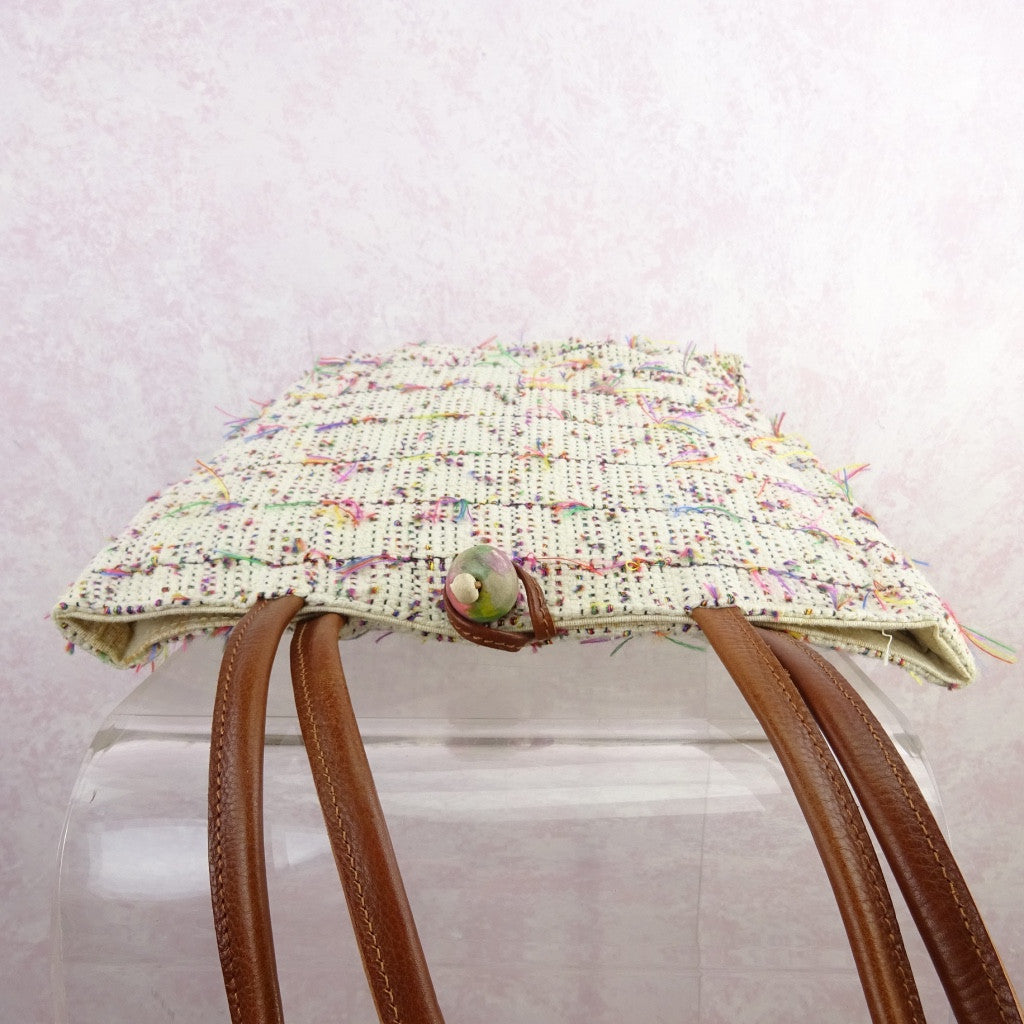 2000s Cotton Open Weave Multi-Color Thread Purse f