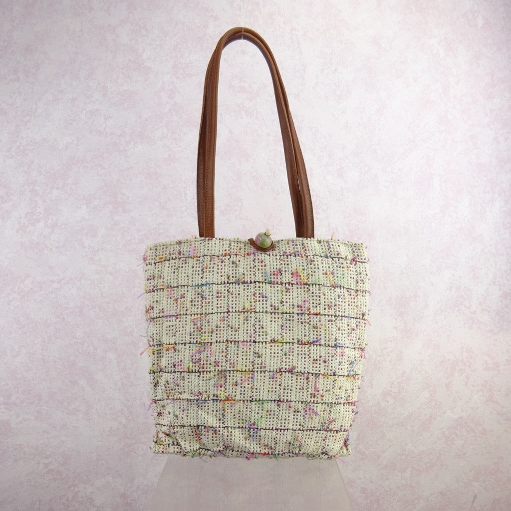 2000s Cotton Open Weave Multi-Color Thread Purse