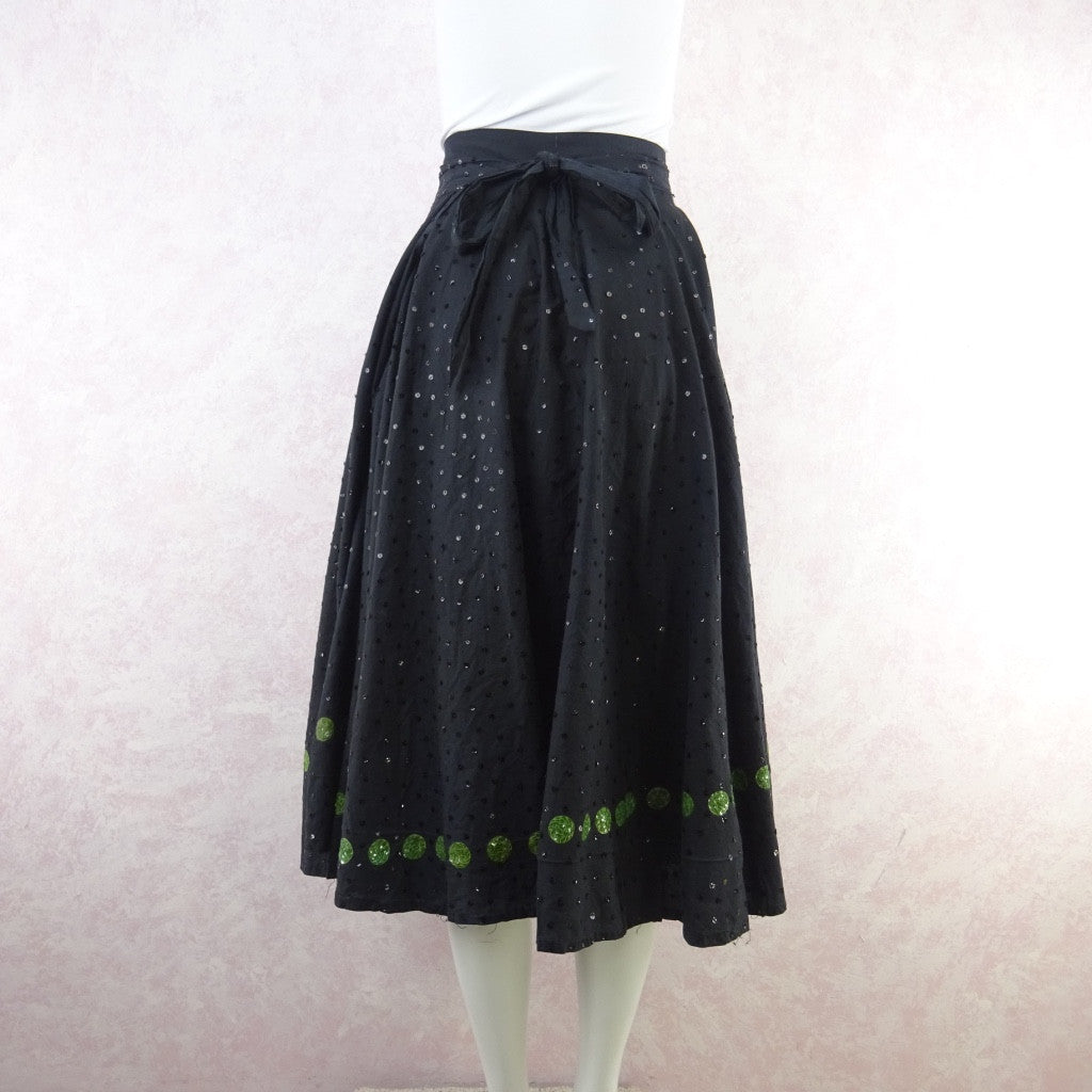 Vintage 50s Mexican Circle Skirt w/Bold Flower & Sequins