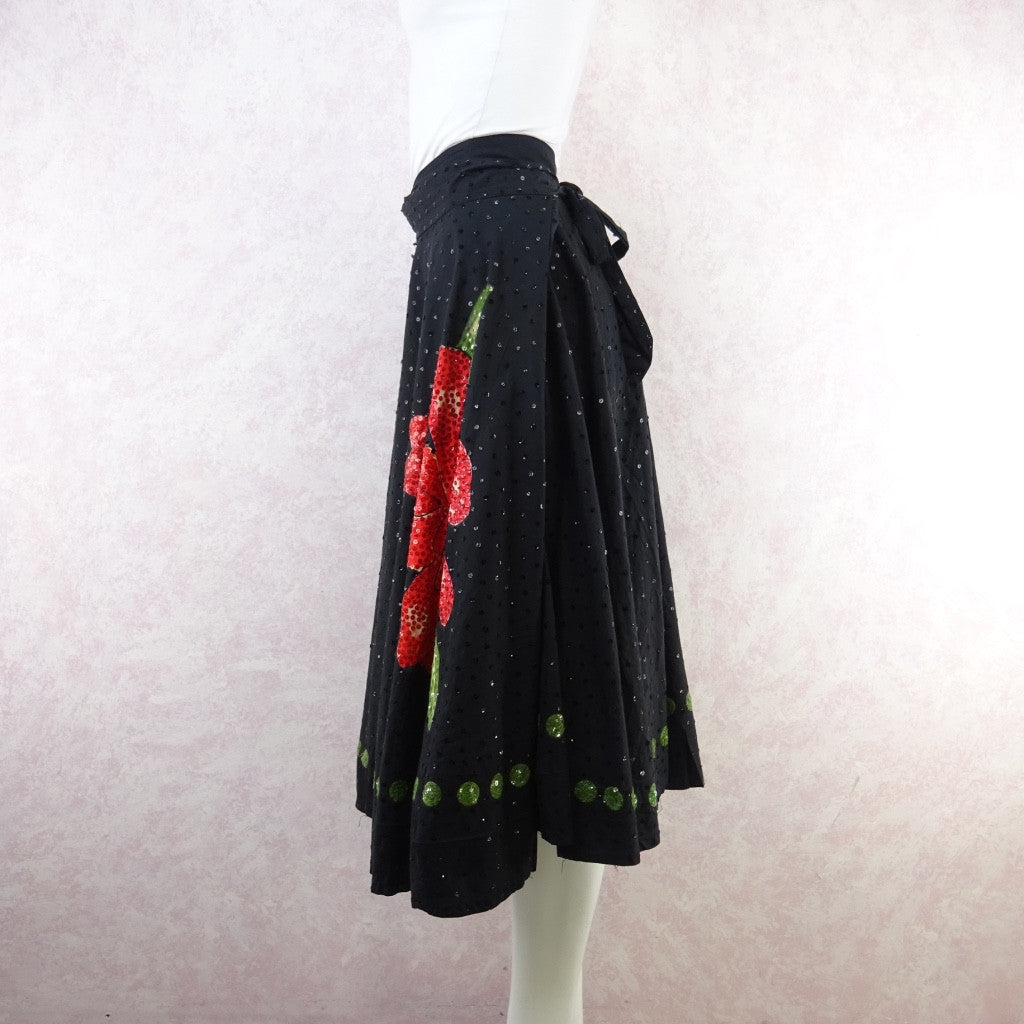 Vintage 50s Mexican Circle Skirt w/Bold Flower & Sequins f