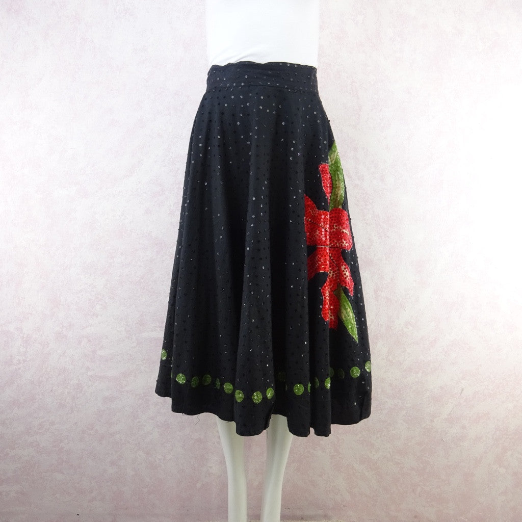 Vintage 50s Mexican Circle Skirt w/Bold Flower & Sequins vf