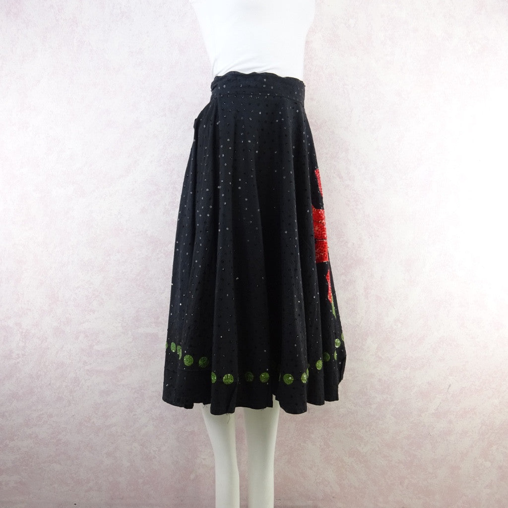 Vintage 50s Mexican Circle Skirt w/Bold Flower & Sequins ngrdf