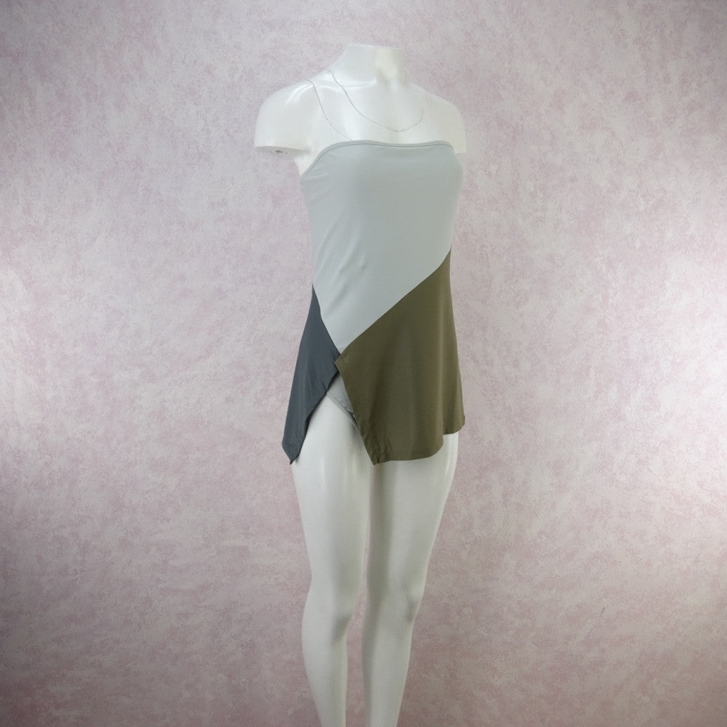 2000s TOMAS MAIER Color Blocked Jersey Strapless Swimsuit   b