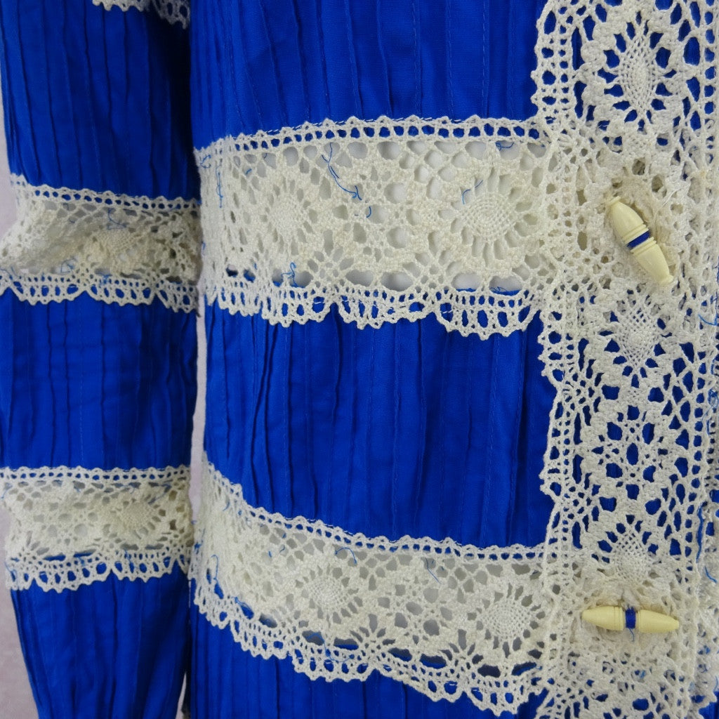 Vintage 70s Mexican Cotton & Lace Dress kjh