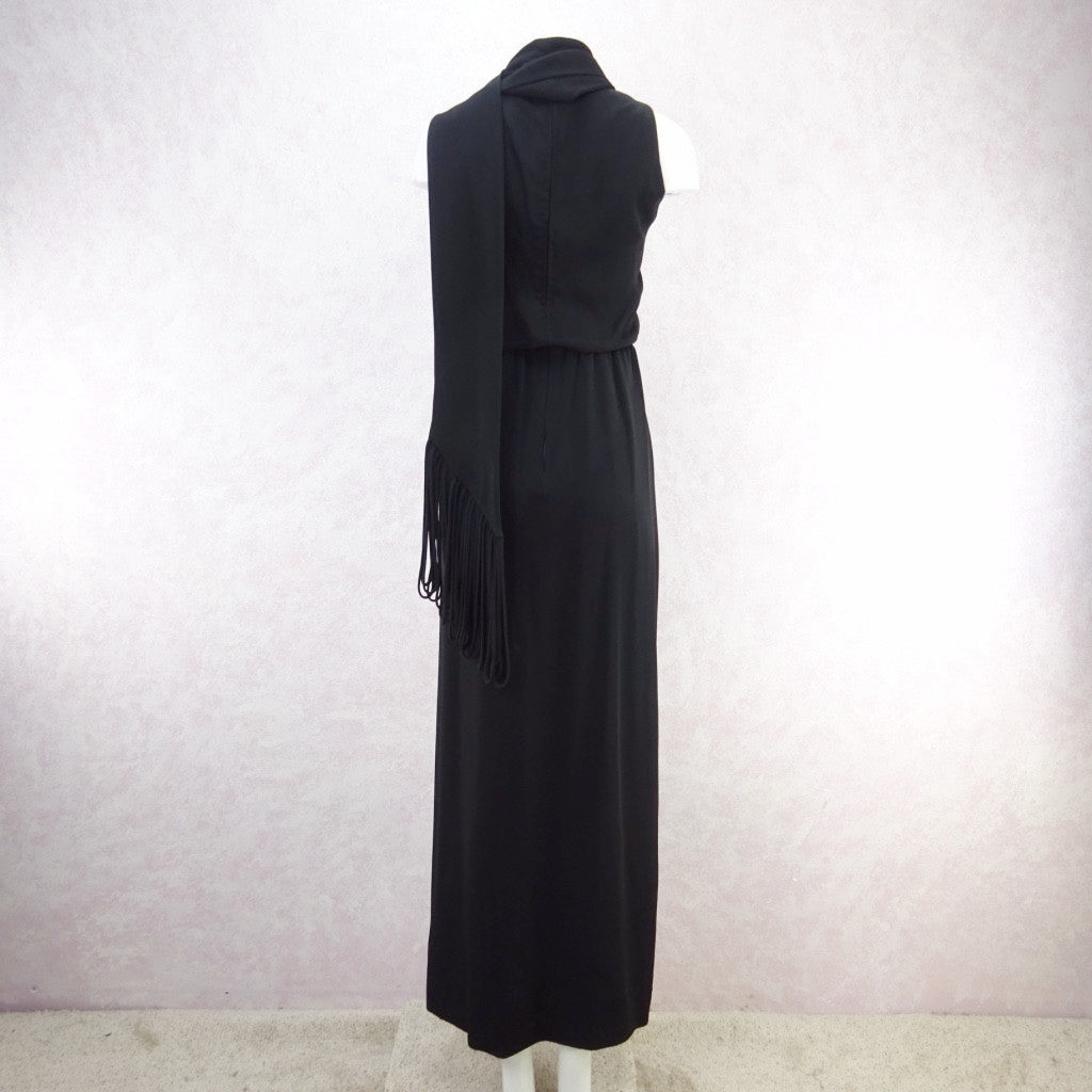 Vintage 70s Wrap Crepe Maxi Dress w/ Self Looped Scarf f