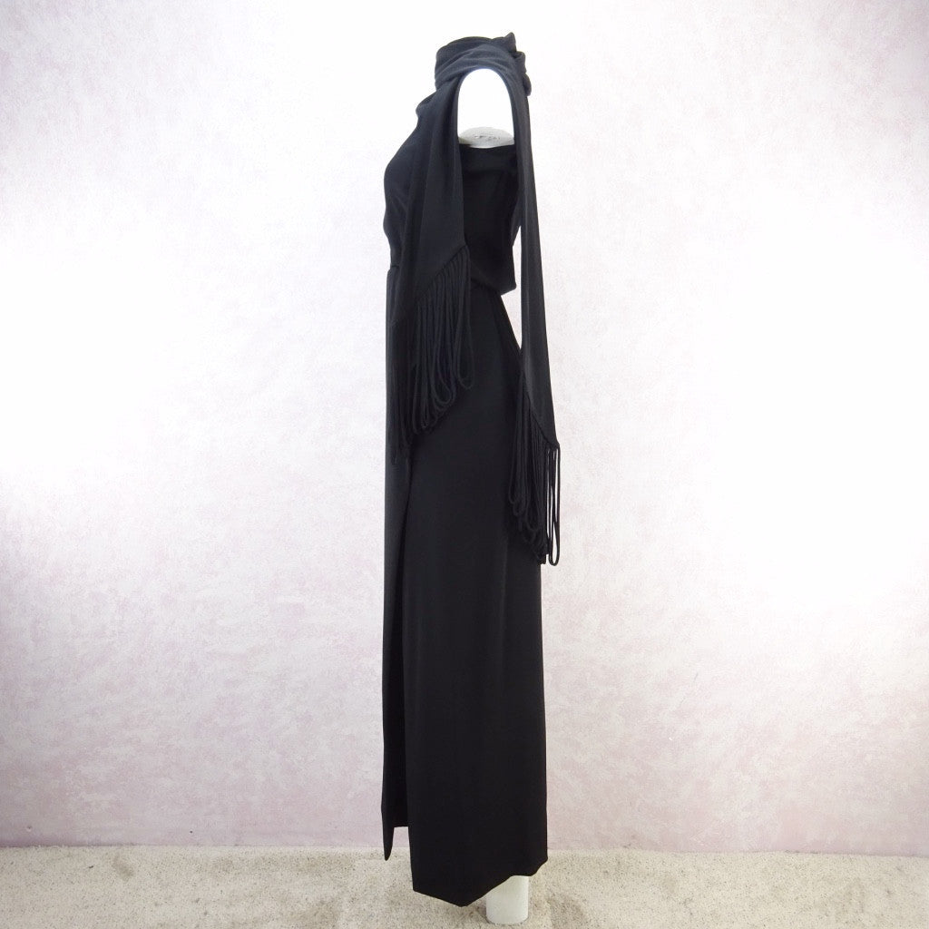 Vintage 70s Wrap Crepe Maxi Dress w/ Self Looped Scarf fds