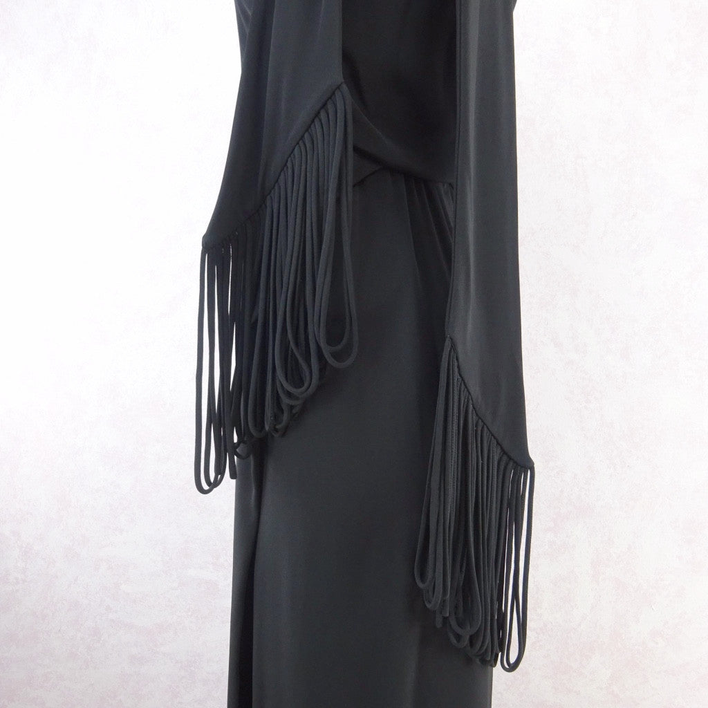 Vintage 70s Wrap Crepe Maxi Dress w/ Self Looped Scarf, d