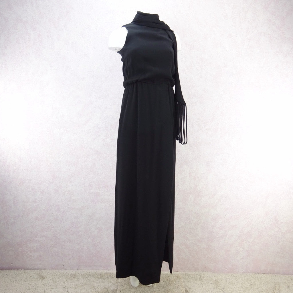 Vintage 70s Wrap Crepe Maxi Dress w/ Self Looped Scarf, s