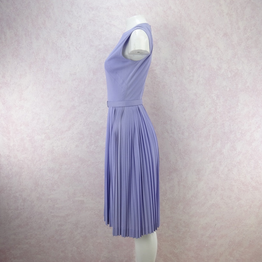 Vintage 60s Lavender Fit & Pleated Flair Dress bgf