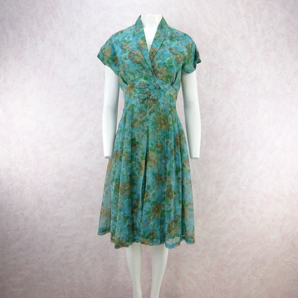 Vintage 60s Fit & Flair 2-Layer Watercolor Floral Dress