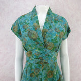 Vintage 60s Fit & Flair 2-Layer Watercolor Floral Dress b