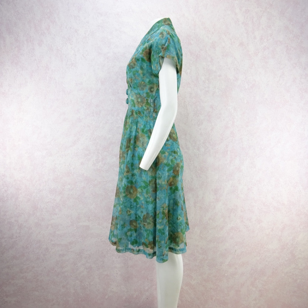 Vintage 60s Fit & Flair 2-Layer Watercolor Floral Dress weaj