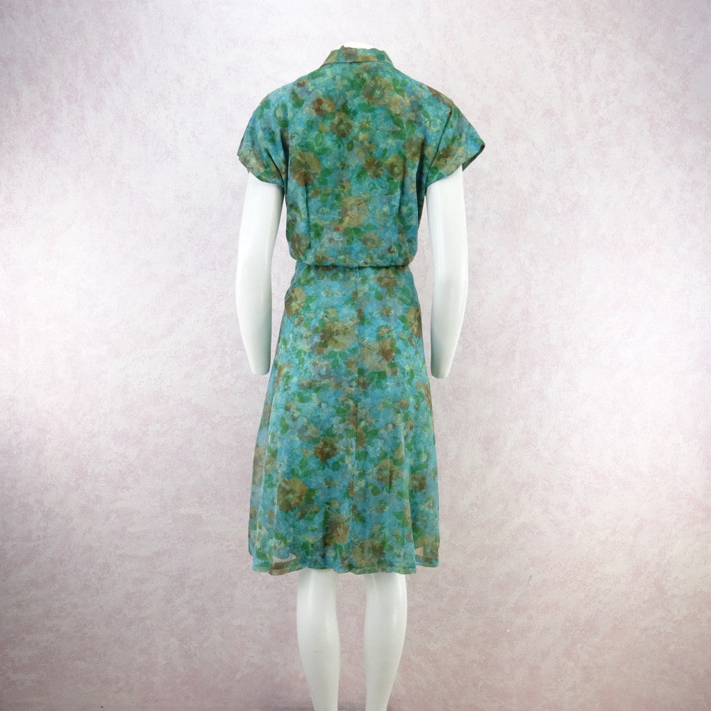 Vintage 60s Fit & Flair 2-Layer Watercolor Floral Dress lkgg