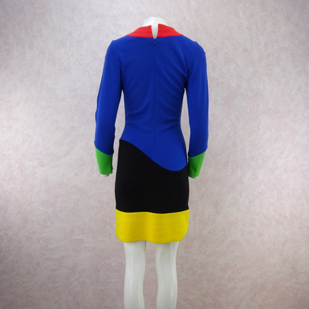 Vintage 80s FABRICE Color Blocked Fitted Jersey Dress vf