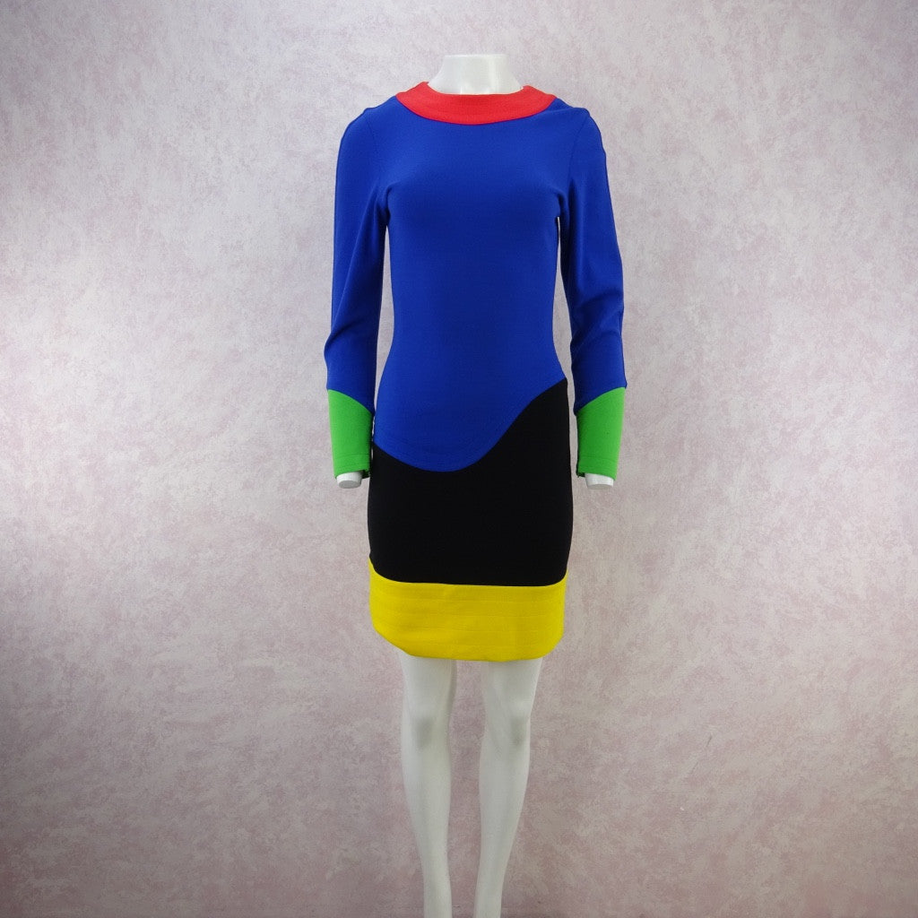 Vintage 80s FABRICE Color Blocked Fitted Jersey Dress nhj
