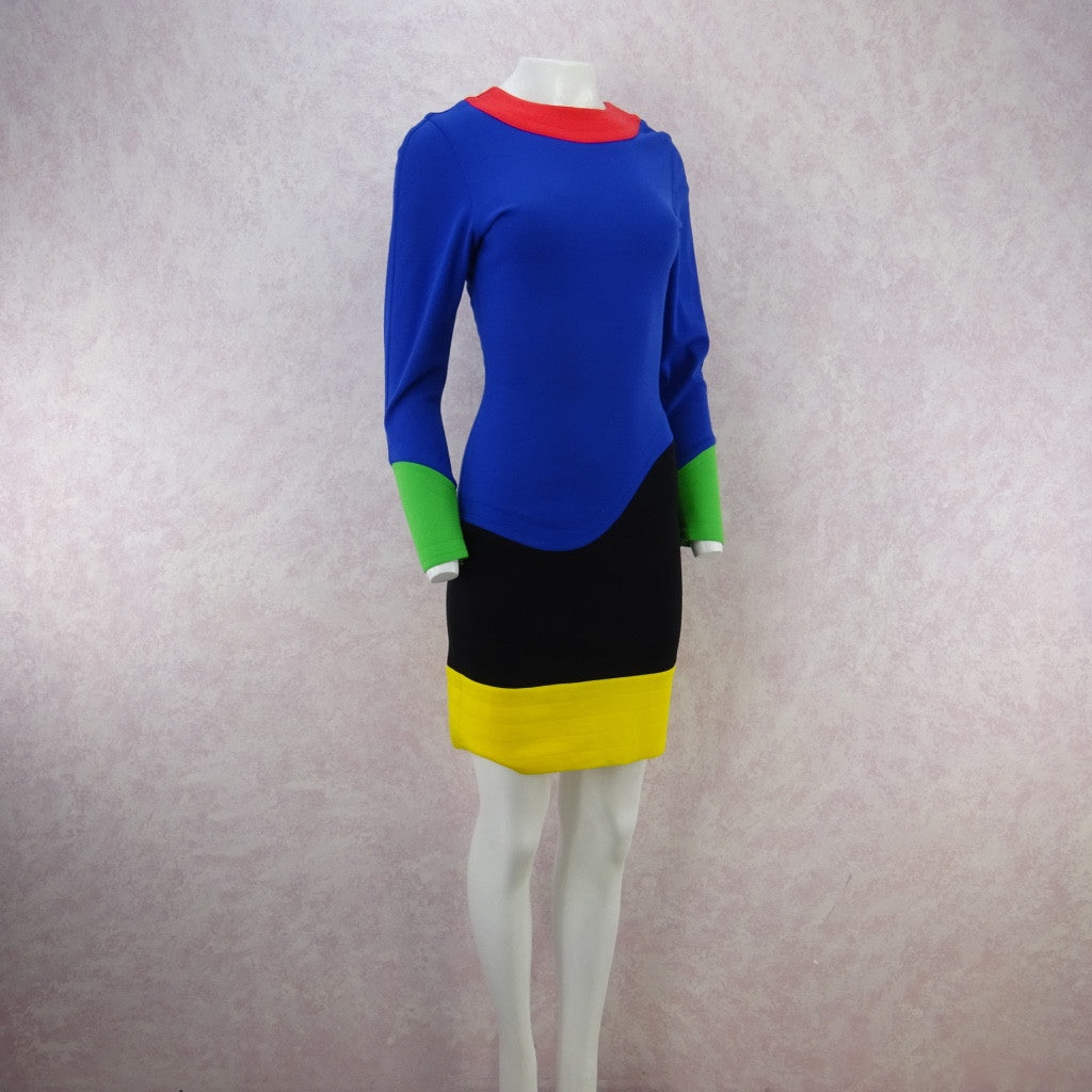 Vintage 80s FABRICE Color Blocked Fitted Jersey Dress poi