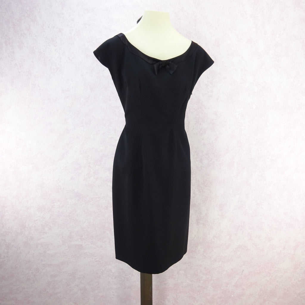 Vintage 60s Little Black Dress With Satin Neckline