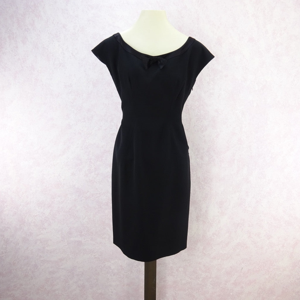 Vintage 60s Little Black Dress With Satin Neckline v