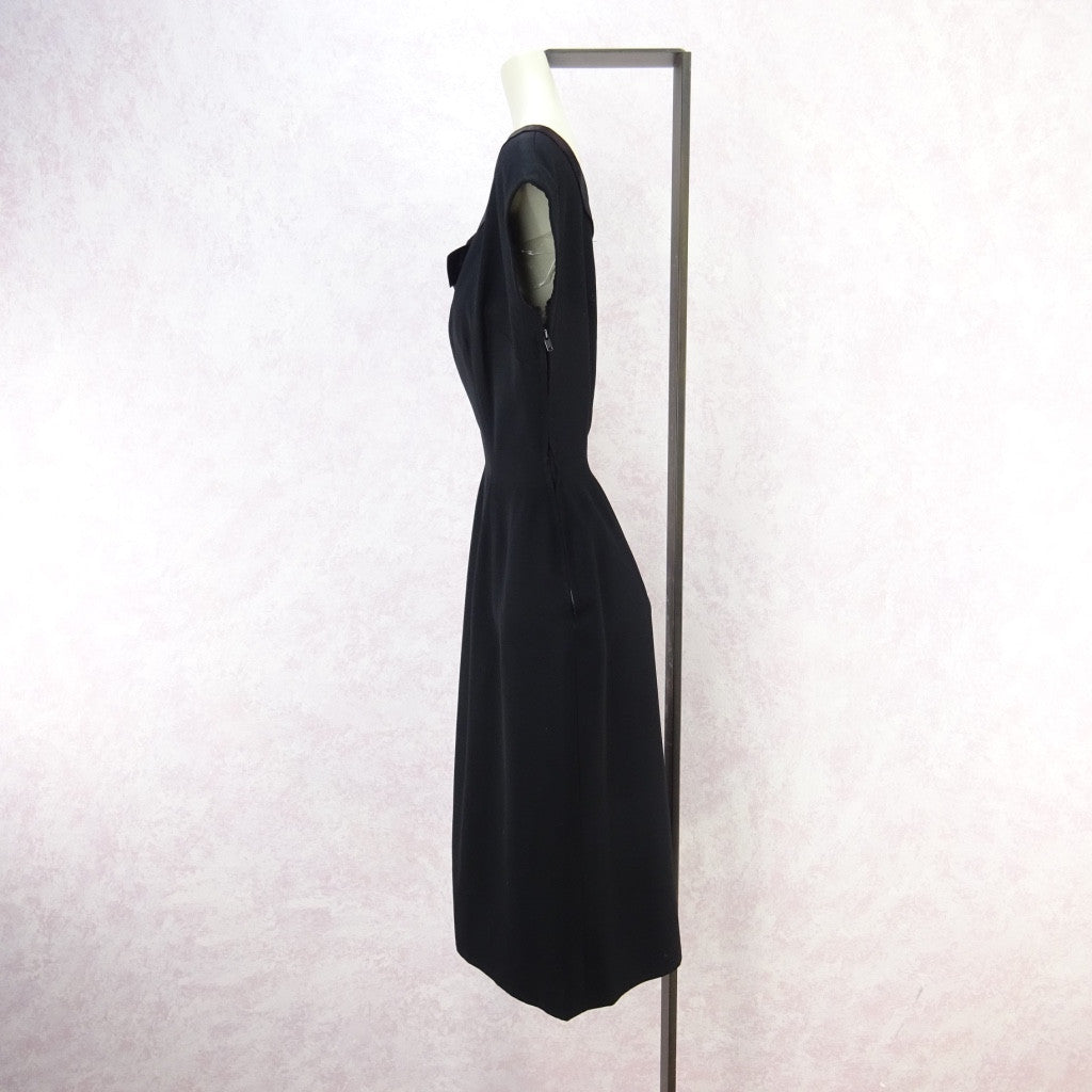 Vintage 60s Little Black Dress With Satin Neckline bgff
