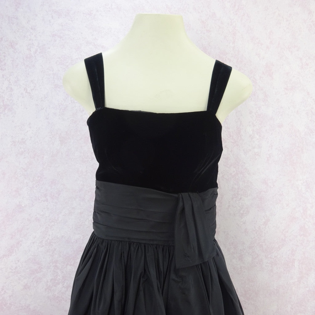 Vintage 60s Taffeta & Velvet Fit & Flair Dress c