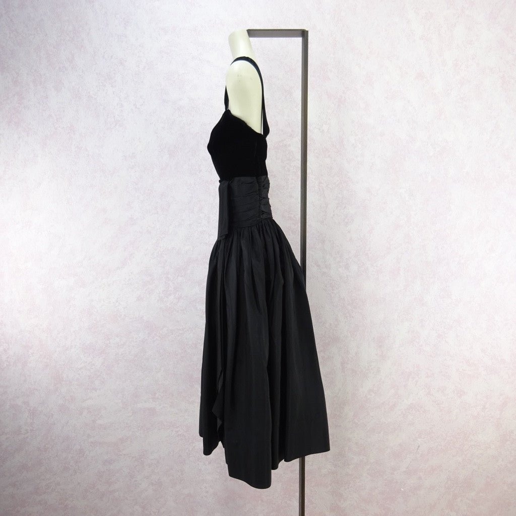 Vintage 60s Taffeta & Velvet Fit & Flair Dress f