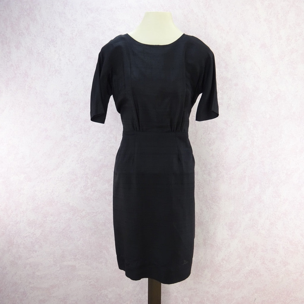Vintage 60s Basic Slub Silk Sheath Dress d