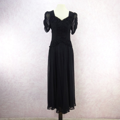 Vintage 70s 1-Shoulder Chiffon & Gold Lamé Dress w/Full Skirt