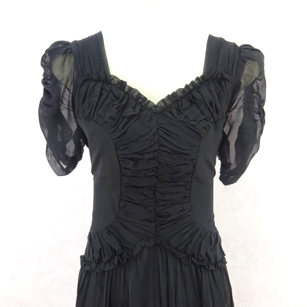 Vintage 40s Fitted Dress w/Ruched Fitted Bodice vfdss