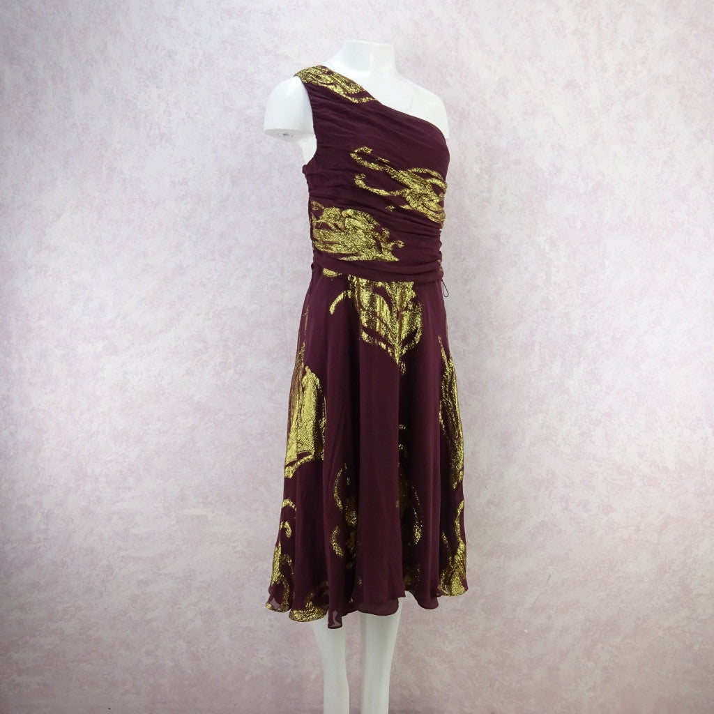 Vintage 70s 1-Shoulder Chiffon & Gold Lamé Dress w/Full Skirt f