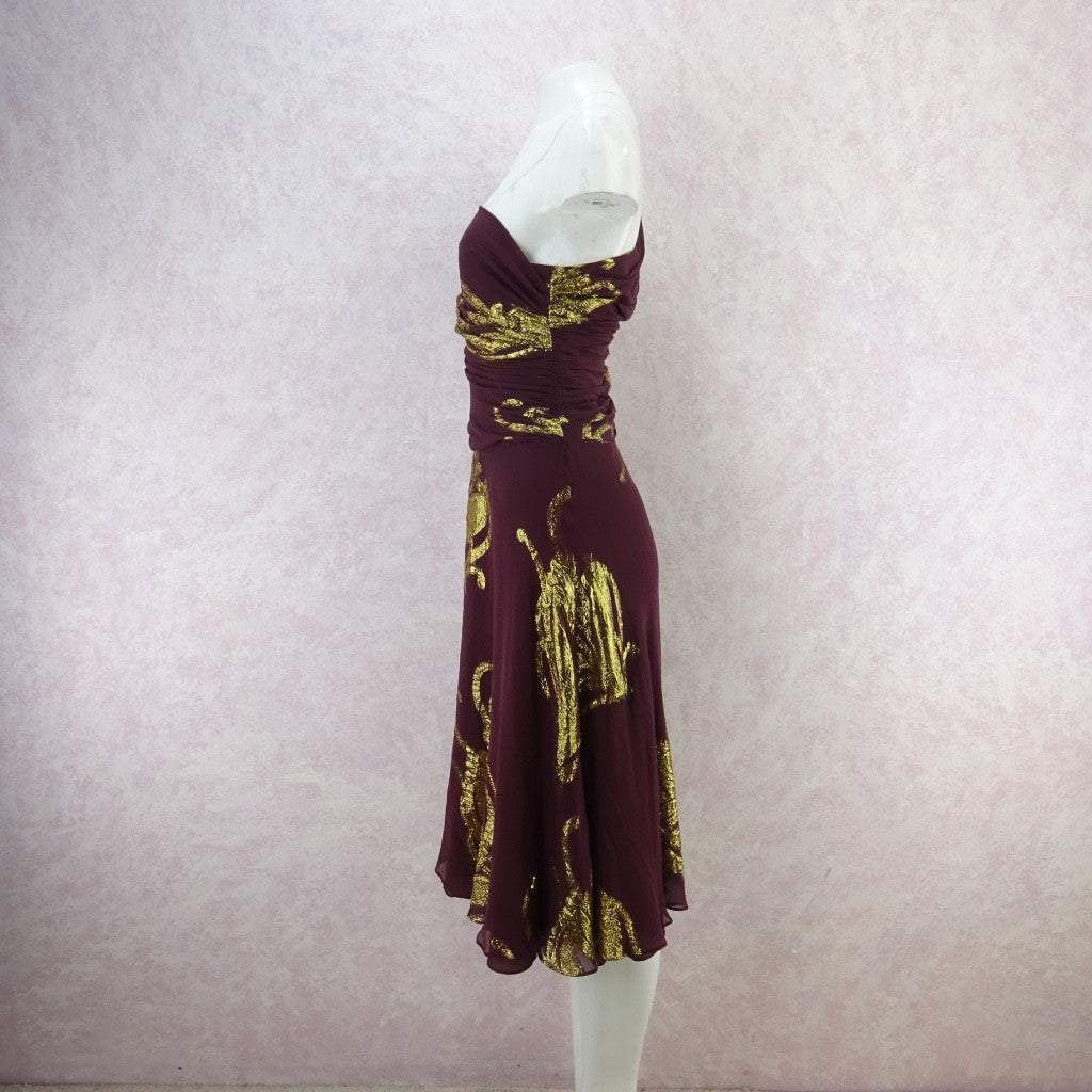 Vintage 70s 1-Shoulder Chiffon & Gold Lamé Dress w/Full Skirt qwef