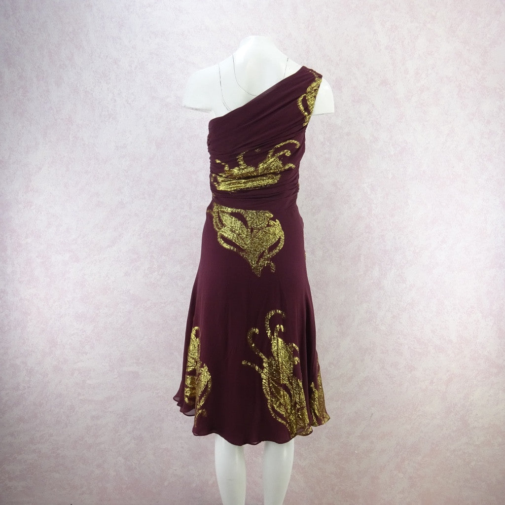 Vintage 70s 1-Shoulder Chiffon & Gold Lamé Dress w/Full Skirt hngbfv