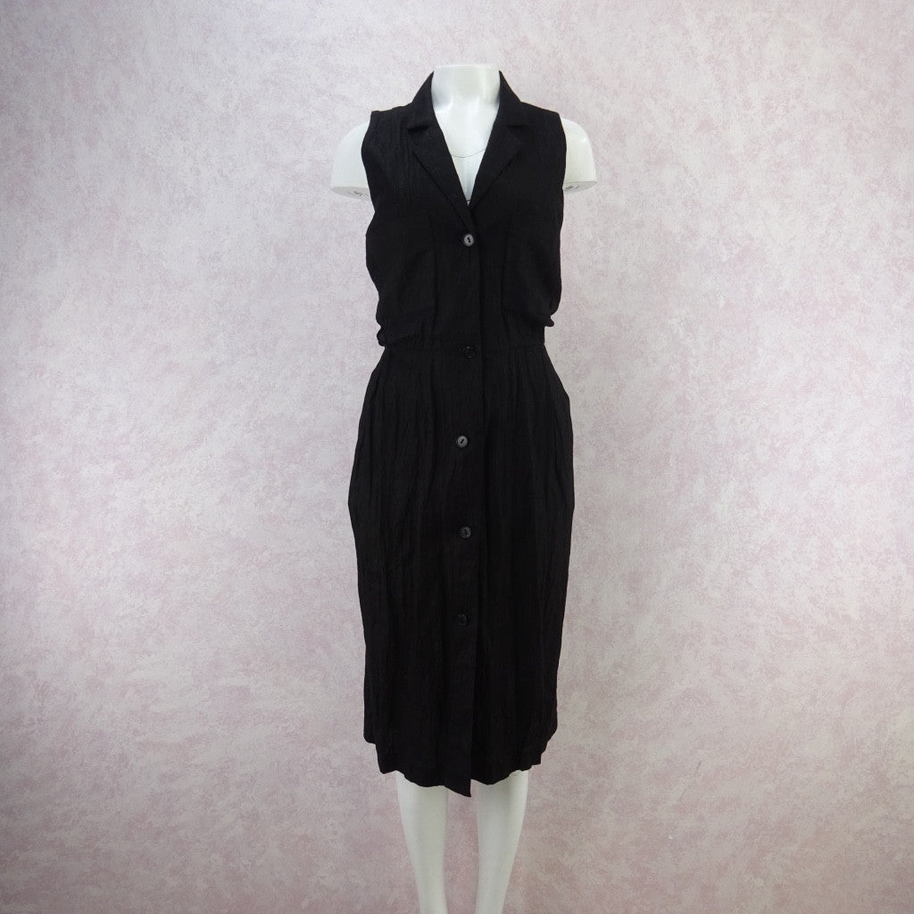 Vintage 80s Linen Open Back Button Front Dress, NWT lkho