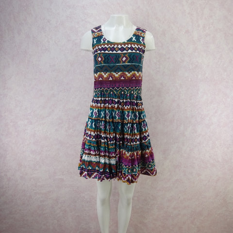 Vintage 60s Bold Op-Art Patio Sheath Dress, Pink L- New Old Stock