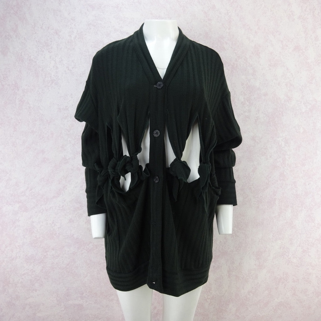 Vintage 90s GIGLI Slashed & Knotted Knit Cardigan, NOS
