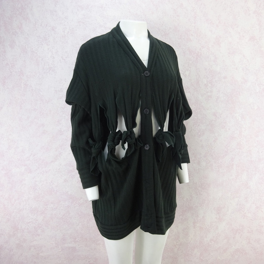 Vintage 90s GIGLI Slashed & Knotted Knit Cardigan, NOS f